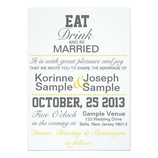 Drink Be Married Chalkboard Style Wedding Invitation Card