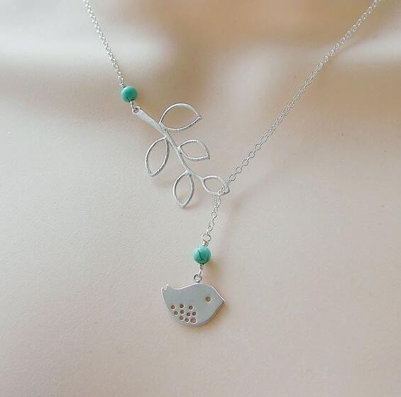 2015 новые бирюзовый оставляет кулон ожерелье женщины ожерелье птица оптовая продажа AN448 купить на AliExpress