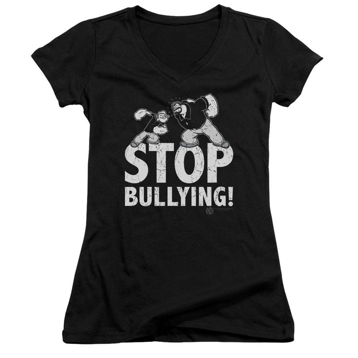 """Checkout our #LicensedGear products FREE SHIPPING + 10% OFF Coupon Code """"Official"""" Popeye / Stop Bullying - Junior V-neck - Popeye / Stop Bullying - Junior V-neck - Price: $29.99. Buy now at https://officiallylicensedgear.com/popeye-stop-bullying-junior-v-neck"""
