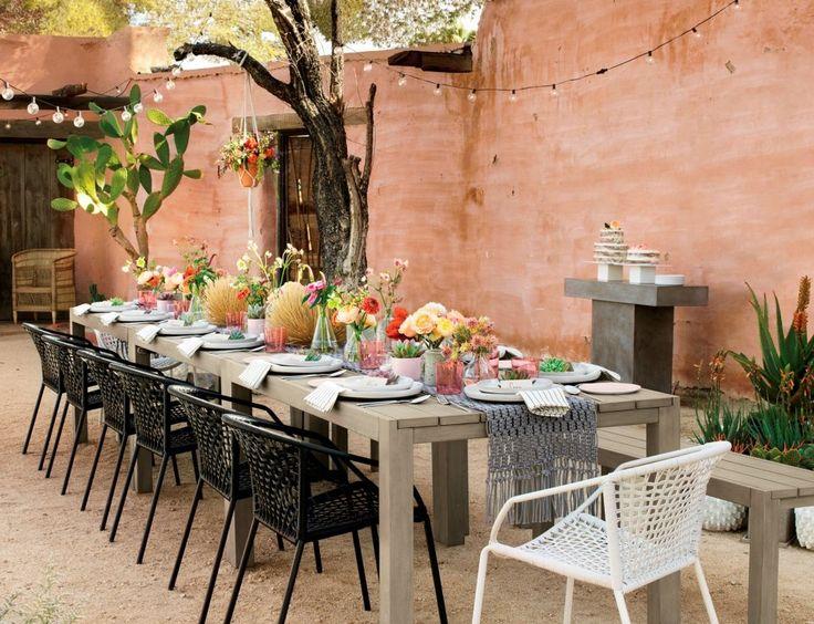Desert Wedding Ideas Backyard Black Dining Chairs