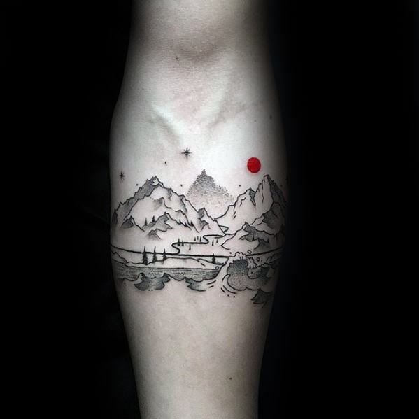 Amazing Mens Small Nature Landscape Mountains Inner Forearm Male Tattoos