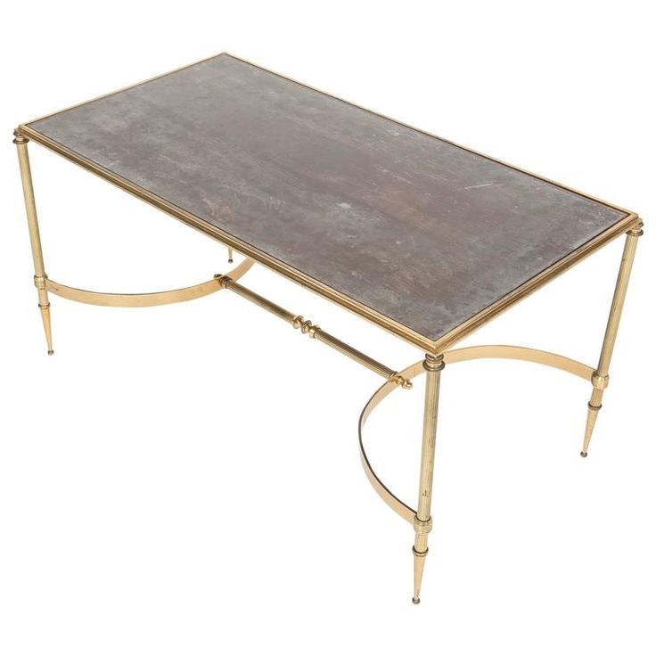 French Brass, Églomisé Glass Top Coffee Table