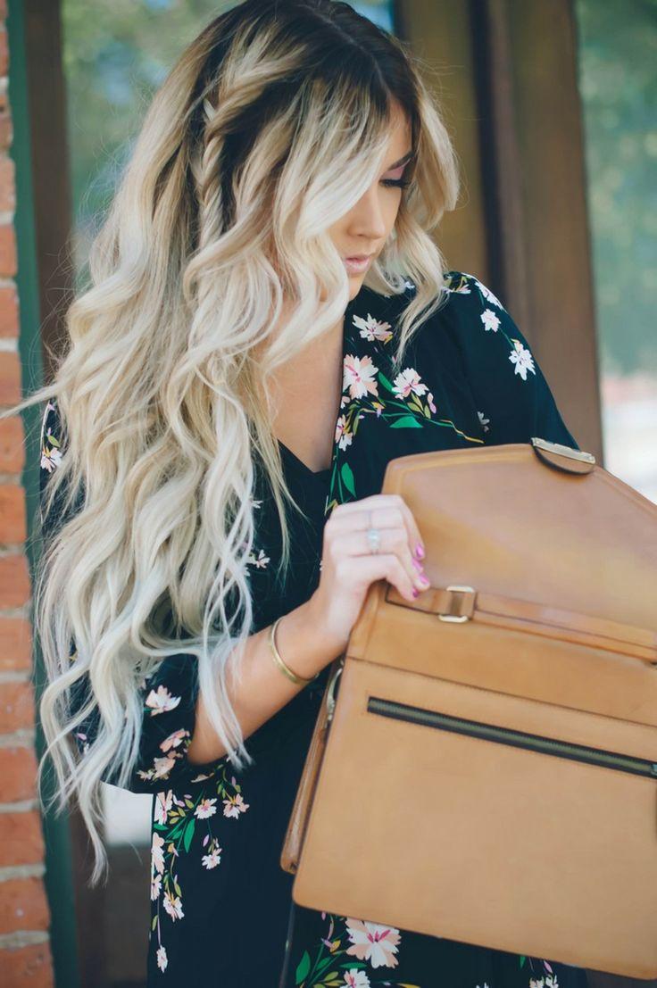 Balayage langes Haar blond dunkler Haaransatz