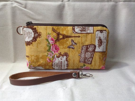 zip pouch clutch Eiffel cosmetic pouch gadget by KatunKatunBags