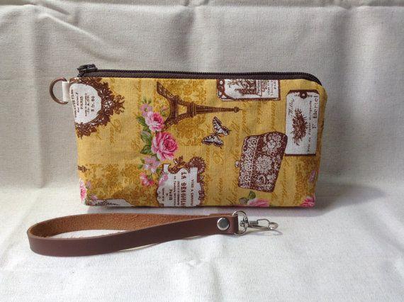 zip pouch clutch Eiffel cosmetic pouch gadget by KatunKatunBags