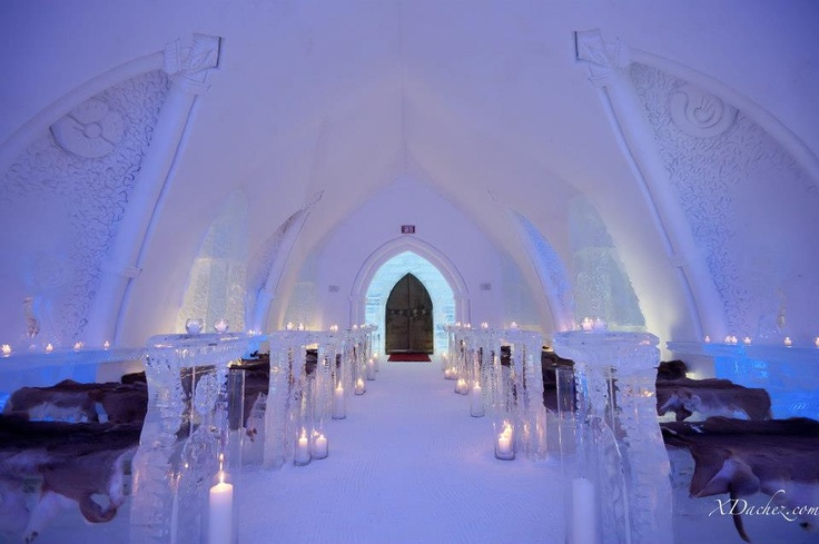 The Ice Hotel, Quebec - has its own chapel for wintry weddings