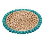 Round Rattan Placemats with Wood Beads, Set of 2 - Beach Style - Placemats - by KOUBOO