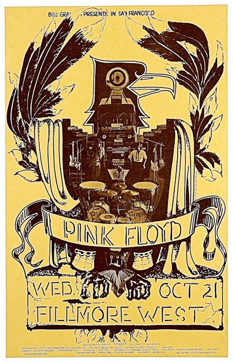"""PINK FLOYD Concert poster 1970 San Francisco  • 100% Mint unused condition • Well discounted price + we combine shipping • Click on image for awesome view • Poster is 12"""" x 18"""" • Semi-Gloss Finish • Great Music Collectible - superb copy of original • Usually ships within 72 hours or less with > tracking. • Satisfaction guaranteed or your money back.  Sportsworldwest.com"""