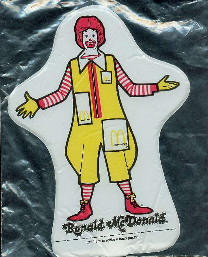 Ronald McDonald Plastic Hand Puppet (before the Happy Meal) how bored our kids would be with that!!!