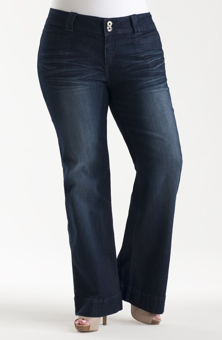 Wide Leg Jean | Dark indigo Style No: J3031-02 Stretch denim wide leg jean with a wide waistband.This jean has a dark indigo wash. The back features 2 pockets with button down flaps. The waistband has a 2 button fastening and belt loops.  Inner leg seam length is 82cm.  #plussize $dreamdiva #dreamdivafiles #fashion