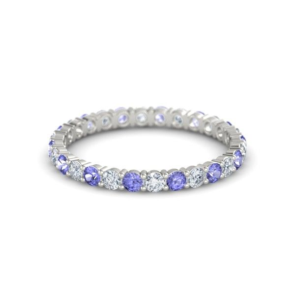 Platinum Ring with Diamond & Tanzanite - Rich & Thin Eternity Band | Gemvara