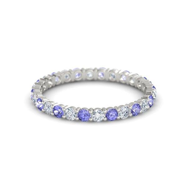 Platinum Ring with Diamond & Tanzanite - Rich & Thin Eternity Band | Gemvara