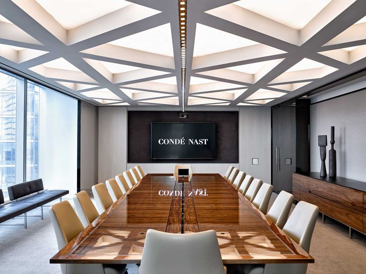 Executive Boardroom With Geometric Ceiling Details