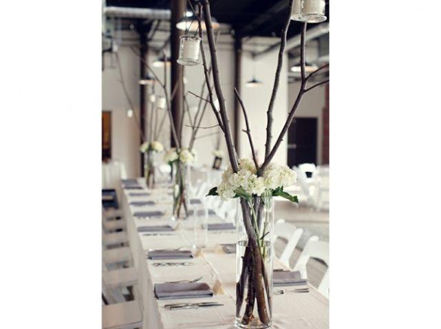 Centre table mariage hauteur branche