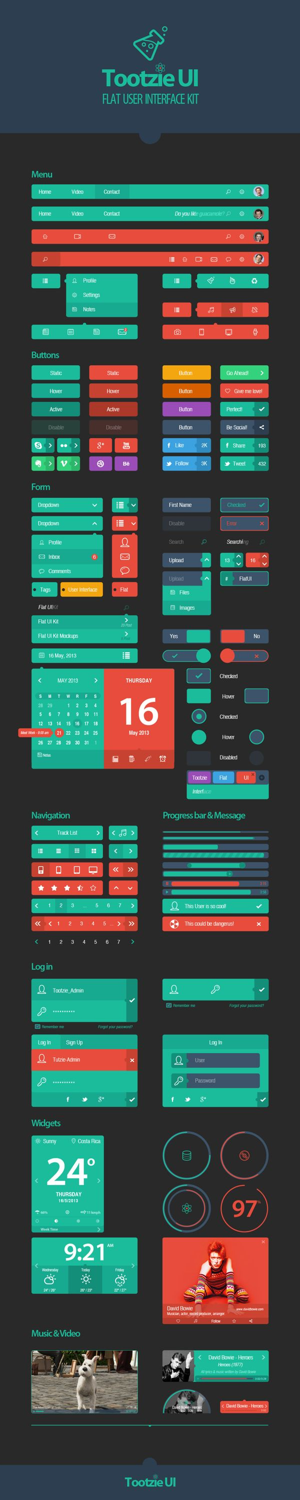 Tootzie UI Kit by Josué Solano, via Behance *** #guikit #gui #behance