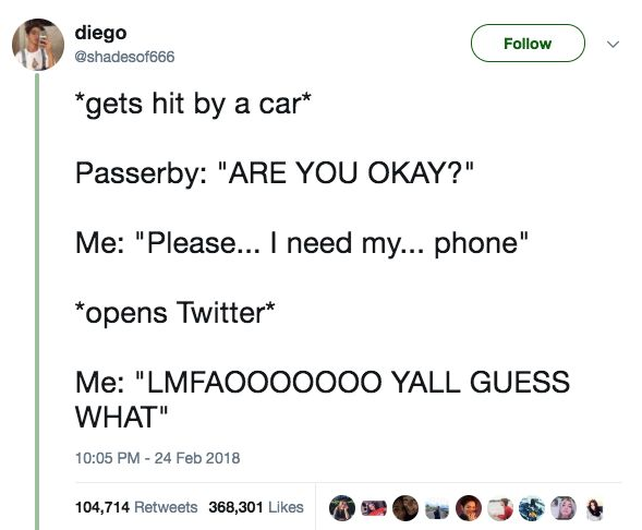 """""""If your Snapchat story is just one straight minute of you driving and singing along to a song, I'm showing your insurance company because honestly I'm tired of it."""""""