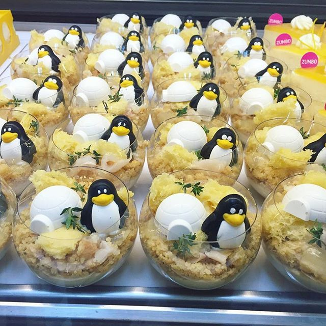 """We're normally pretty chilled, but just wanted to let you know that 2morrow is your LAST CHANCE to get your hands on these cool guys... """"You Can't Sell Ice to Eskimos"""" - with ginger tea custard, ginger thyme crumble, lychee coconut and tea jelly, coconut sponge, milk mousse & a chocolate chilli penguin ❄Available at all Zumbo stores 2morrow only! @justdessertsau #justdessertsau #zumbo #happyfeet #choocolate #chilli #limitededition"""