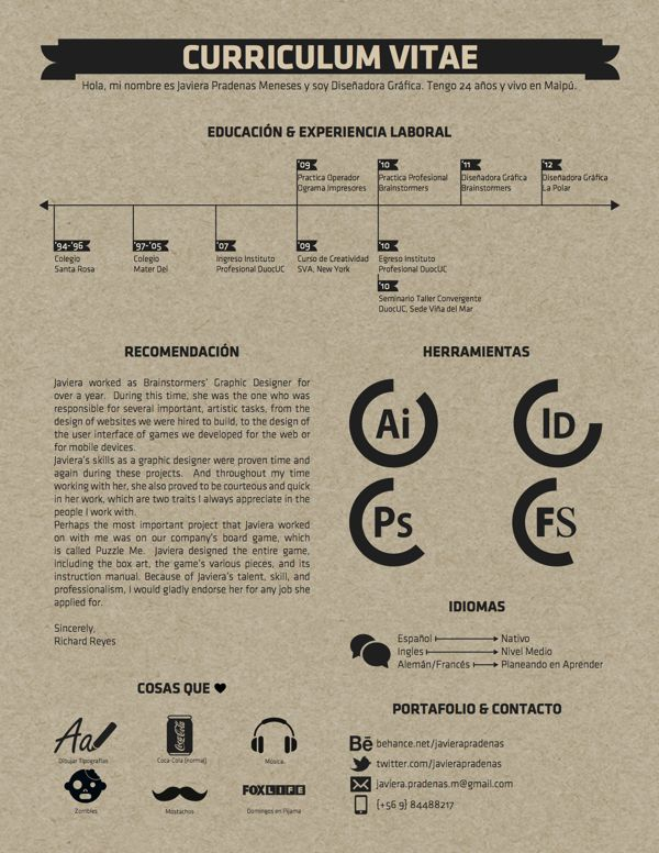 resume    curriculum vitae by javiera pradenas  via behance