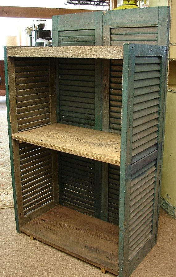 Reclaimed Architectural Shutter Bookcase Wormy Chestnut Media Display Cupboard on Etsy, $478.17 CAD