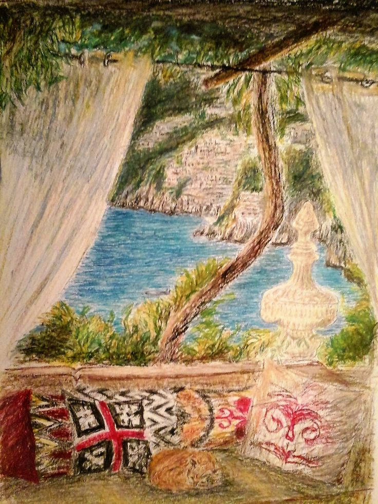 Terrace View Sorrento  Oil Pastel painting 40 x 30 cm by Karina Andriasyan