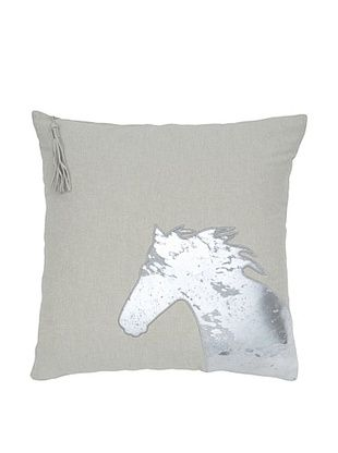 India's Heritage Silver Foil Horse Pillow, Ecru, 20