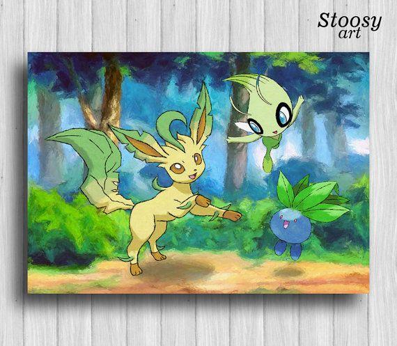 anime poster leafeon pokemon gifts oddish celebi anime decor