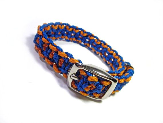 For 10% off entire shop - use Coupon Code PIN10 - Blue and Orange Small Dog Macramé Collar  $11.00  Also available in other colors!