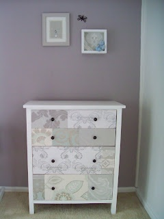 Wallpaper collage chest of drawers! Very cool idea