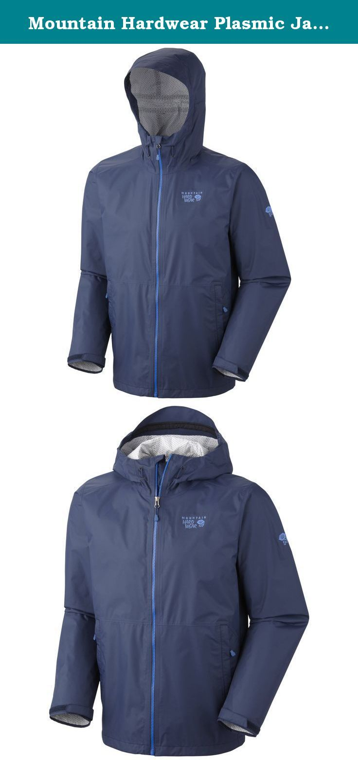 """Mountain Hardwear Plasmic Jacket - Men's Collegiate Navy Large. Top-tier technology-Aquaguard® VISLON® front zip and Dry.Q™ EVAP for unbeatable wicking. The Plasmic keeps you comfortable no matter how active you are. Dry.Q™ EVAP's innovative system of channels disperses sweat quickly for faster evaporation, improved breathability and a drier interior feel without pit zips. Center Back Length: 28"""" / 71 cm. BodyDry.Q EVAP™ 40D 2.5L / 100% nylon. Dry.Q EVAP Dry.Q EVAP combines the industry..."""