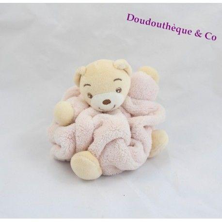 Mini doudou ours KALOO rose clair plume attache tétine 12 cm