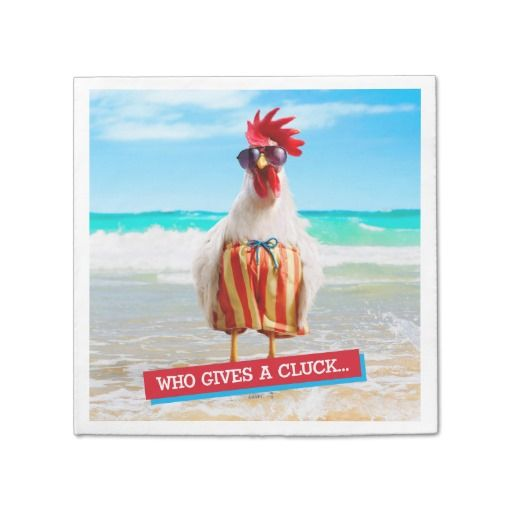Rooster Dude Chillin' at Beach in Swim Trunks. Regalo, gift. #servilleta #napkin