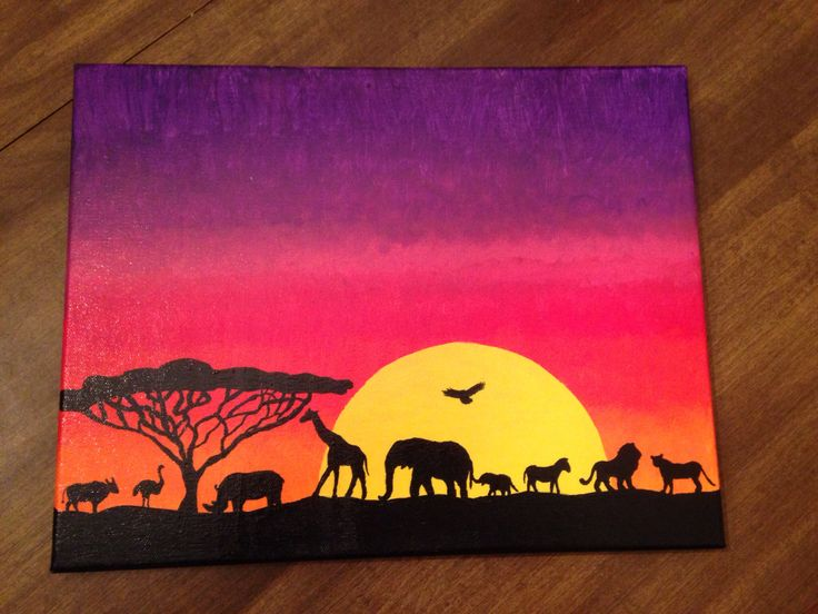Sunset Safari Silhouette Painting Drawing Ideas