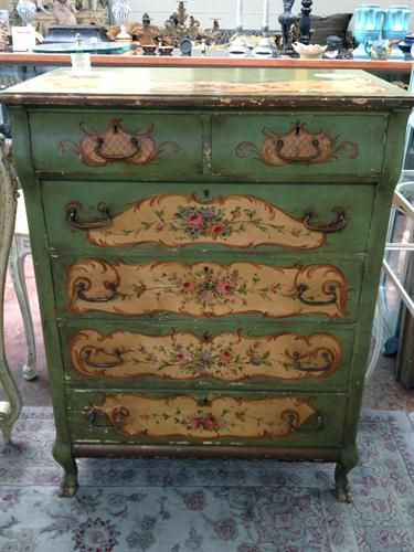 No instructions! Paint, Decoupage and flair added by hand then waxed!