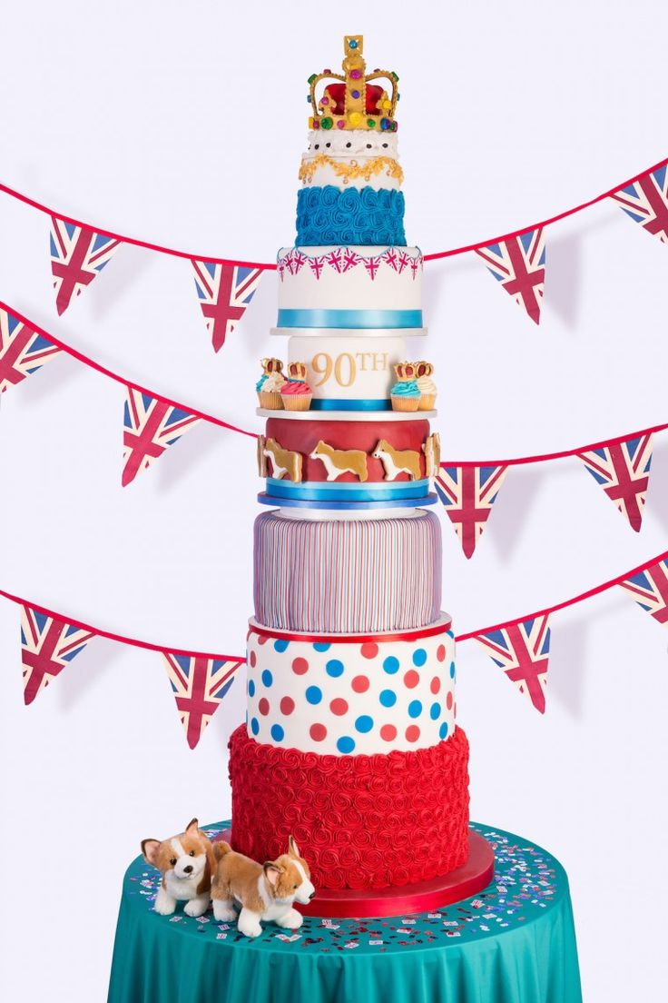 Show stopping 9 tiered Queens 90th Birthday Cake by Juliet Sear with union jack flag bunting, piping, swirled roses, polka dots and sugarcraft crown designs