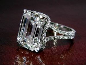 emerald cut, split shank, halo. LOVE