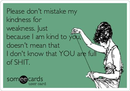 Please don't mistake my kindness for weakness. Just because I am kind to you, doesn't mean that I don't know that YOU are full of SHIT. | Reminders Ecard