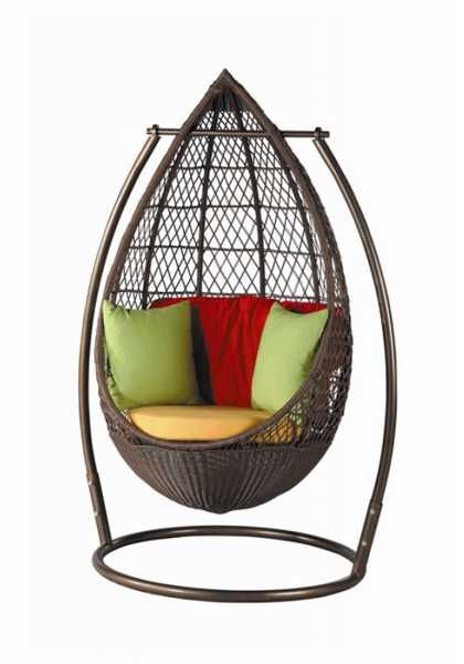 hanging chair with bright pillows