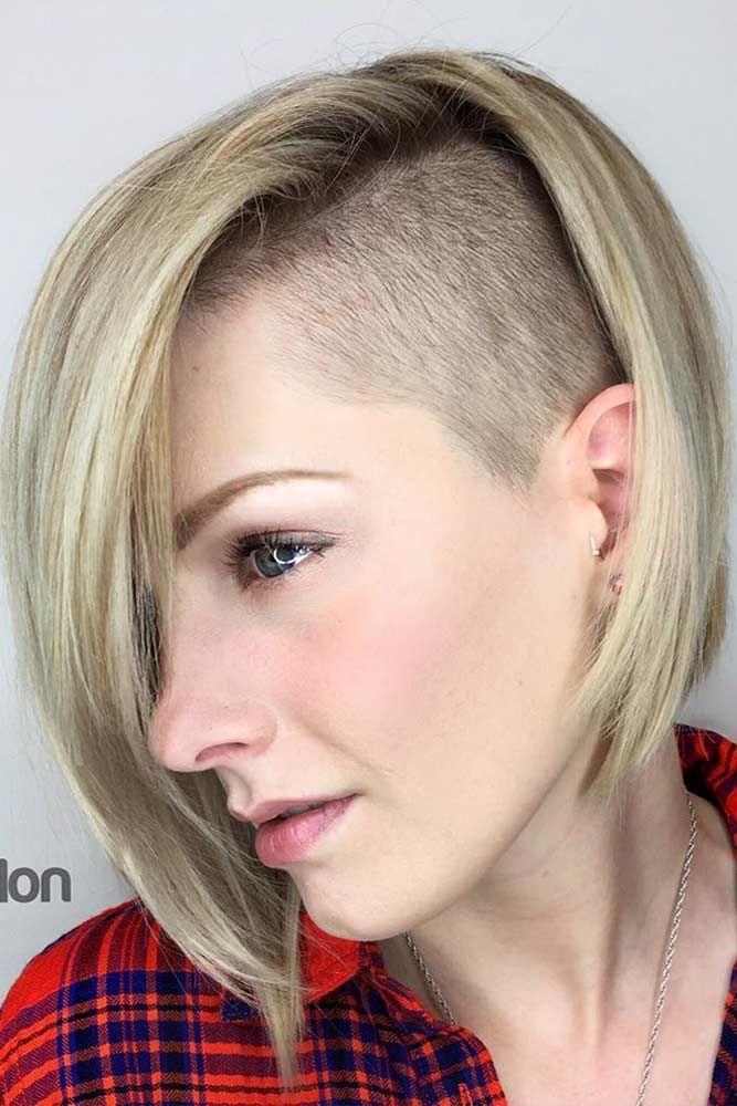 30 Cute Rebellious Half Shaved Head Hairstyles For Modern Girls Half Shaved Head Hairstyle Short Straight Hair Shaved Bob