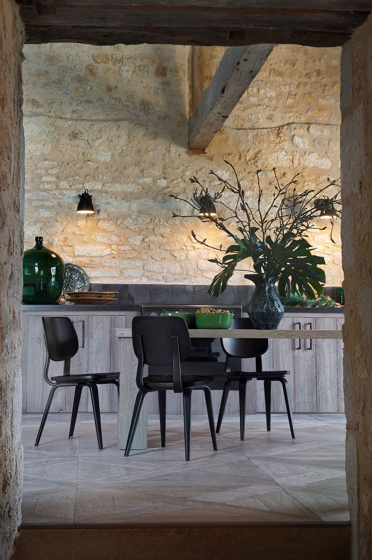 Guest Cottage France, by Kate Hume   kitchen dining   natural finishes   parquet wood floor