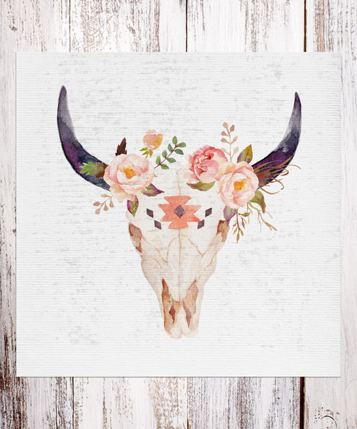 Look at this Bull Head Floral Bouquet Art Print on #zulily today! Sucker cake