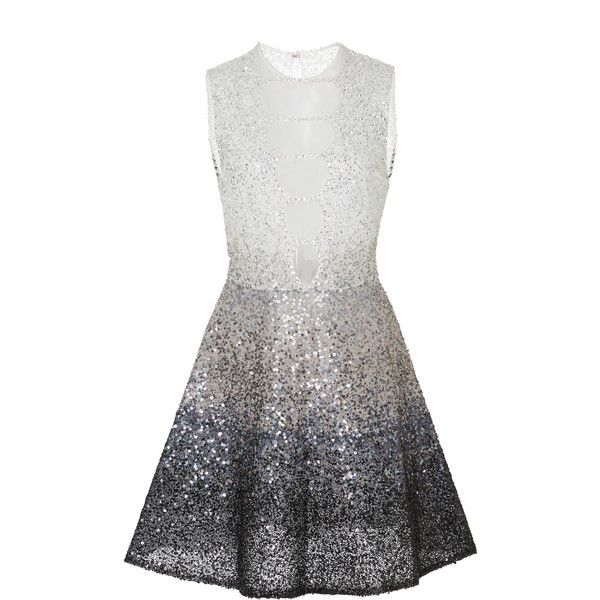 Georges Hobeika Sequin Embroidered Short Dress (124.682.295 IDR) ❤ liked on Polyvore featuring dresses, silver, white mini skirt, a line cocktail dress, white dress, silver cocktail dress and silver sequin dress