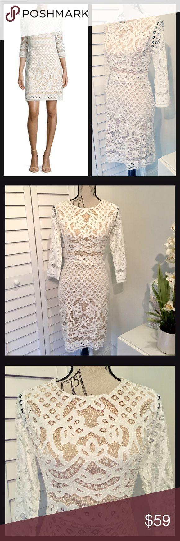 🎉Host Pick🎉 Ivory & Tan 3/4 Sleeves Lace Dress🌷 NWT Gorgeous Ivory & Tan 3/4 Sleeves Lace Mini Dress 🌷 Dresses Mini