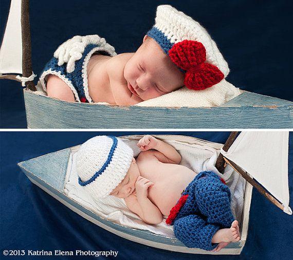 Newborn Twins  Sailor Girl nand Sailor Boy Photo Prop Set /Sailor Prop/Nautical Newborn Prop/ Newborn Photo Prop/ Ruffle Diaper Cover on Etsy, $60.00