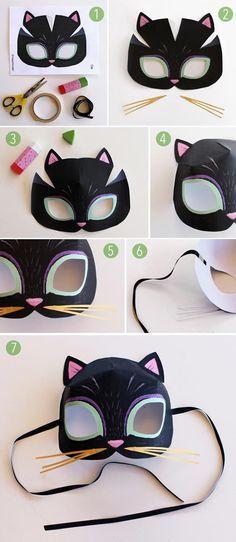 Katzenmaske zum selber basteln mit Vorlage zum Ausdrucken …
