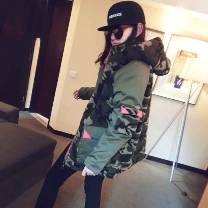 Korean Fashion Winter Womens Cotton Jacket Lamb Velvet Patchwork Camouflage Cotton Coat Plus Size Hooded Jacket Female Outwear
