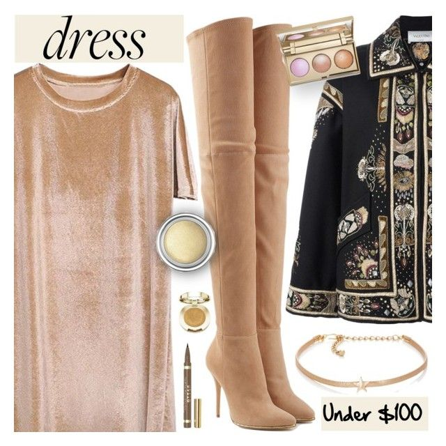 """Winter Dresses Under $100"" by dora04 ❤ liked on Polyvore featuring Valentino, Balmain, Kenneth Jay Lane, Milani, Stila, Christian Dior, velvet, under100 and winterdresses"