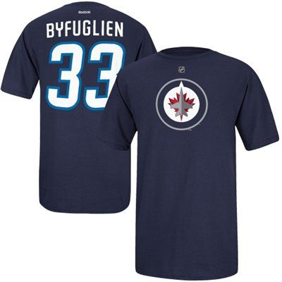Mens Winnipeg Jets Dustin Byfuglien Reebok Navy Blue Name & Number T-Shirt