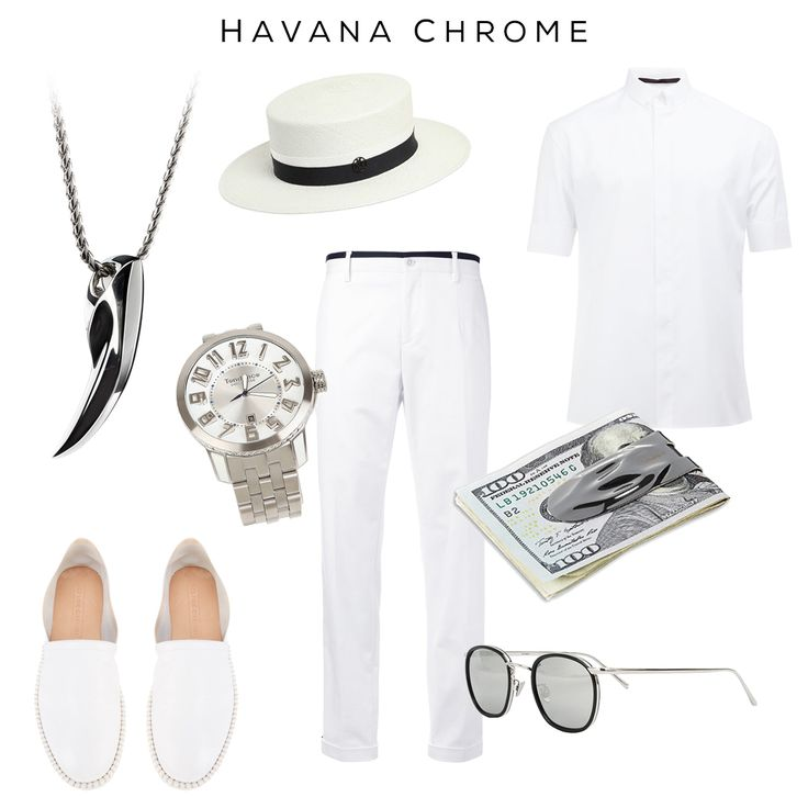 Havana Chrome - Cold as ice outfit for a hot summertime. --Clockwise: Panama straw hat by Maison Michel, Shirt by Haider Ackermann, MAKT money clip by @svorndesign, Sunglasses by Linda Farrow, Piped Trousers by Dolce & Gabbana, Espadrilles by Casadei, Watch by Tendence, FENRIR pendant by @svorndesign -- #style #mensstyle #mensfashion #allwhite #summerstyle #accessories #mensaccessories #watch #moneyclip #dapper #pendant #summer #havana