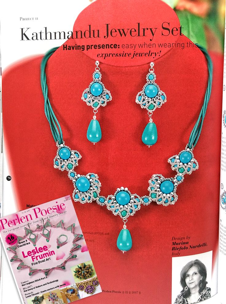 """This is the photo of my """"Kathmandu"""" jewelry set published in the march issue of Perlen Poesie. I would like to thank all the staff for this opportunity!"""