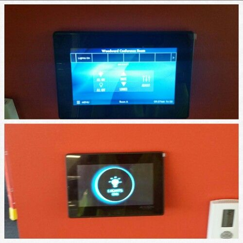 Fresco touchscreen Lighting Controls in conference rooms at Woodward in Rockford, IL